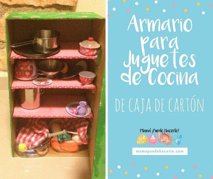 armario de cartn para juguetes de cocina