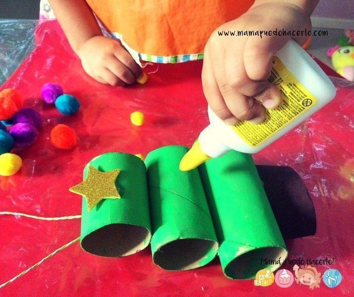 Árbol de navidad de tubos de cartón - Mamá ¡Puedo Hacerlo!