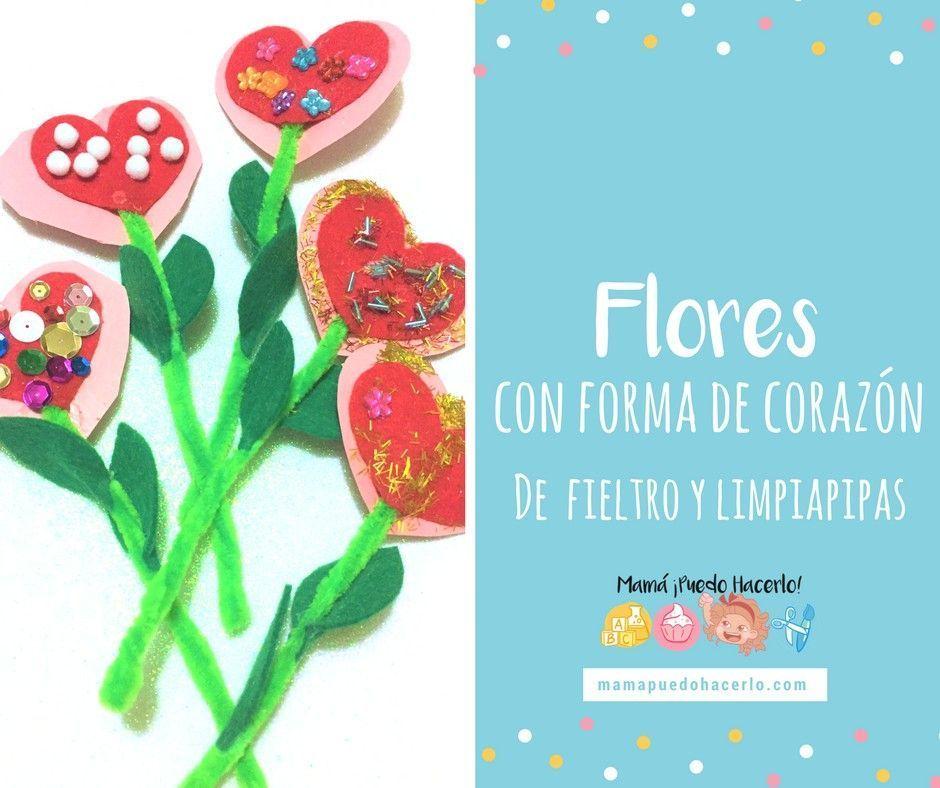 Flores Con Forma De Corazón Mamá Puedo Hacerlo