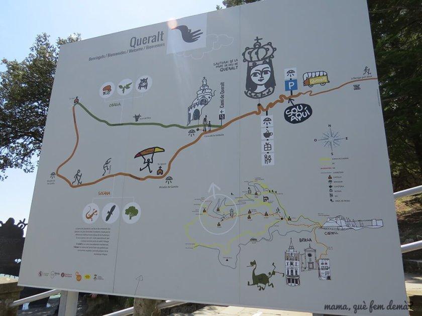 panel que indica la ruta alrededor del Santuari de Queralt