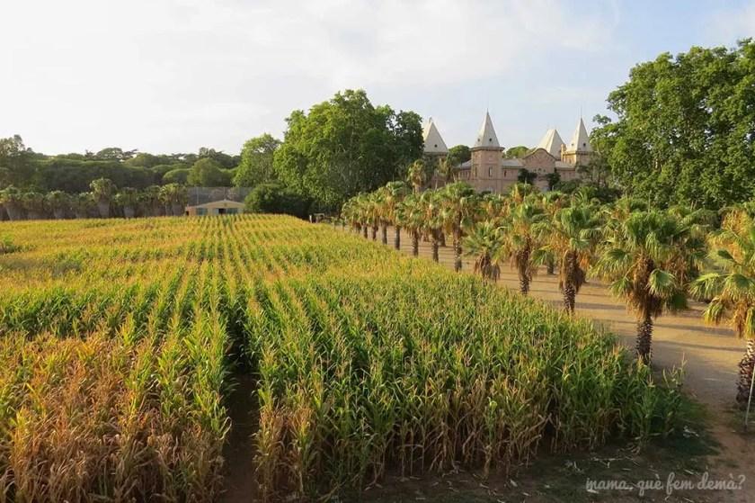Laberinto de maíz desde la torre mirador del parc Samà