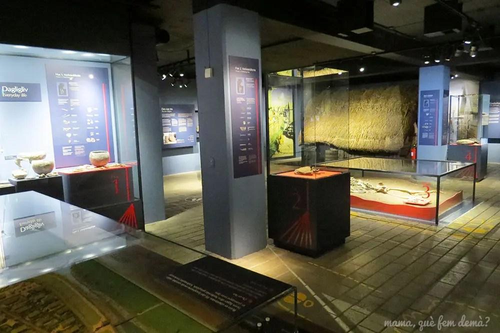 interior del museo vikingo de Aarhus