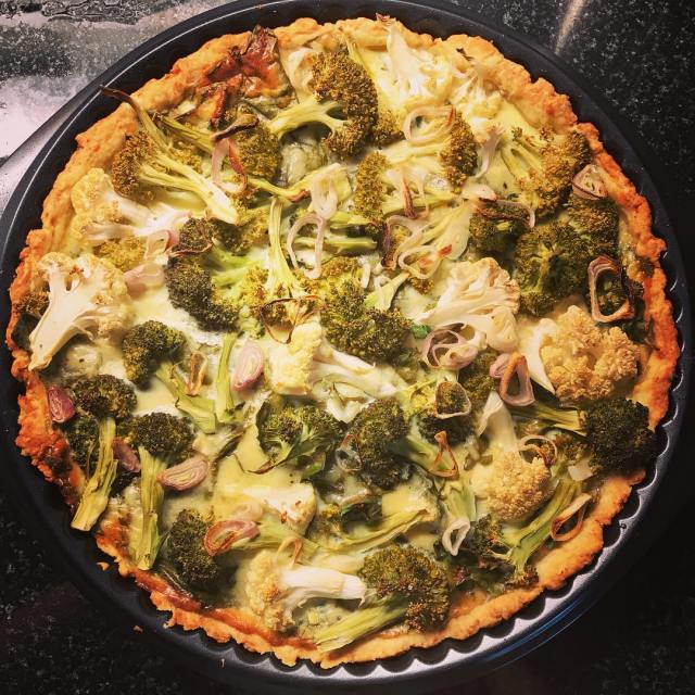 Yummy broccoli cauliflower quiche for lunch With home grown spinachhellip