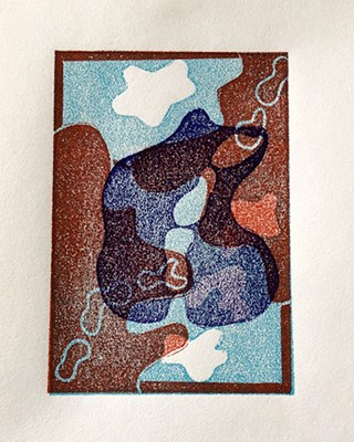 """Honorable Mention: Kate Lemmers, """"Layered Selves"""" Relief Print"""