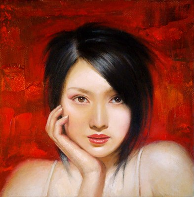 "3rd prize: Zheng Cha, ""Girl"" Oil"