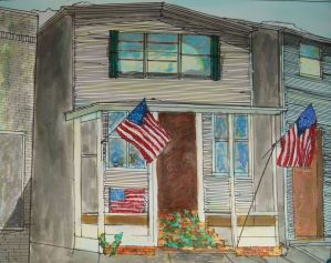 """Don Sexton, Canaan Flags, Inks/Oil/Pastels, 18"""" X 23"""",$980"""