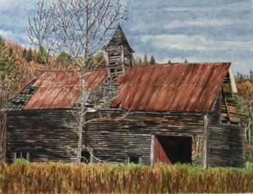 "James Maciel, Vermont Barn, Watercolor, 24""x30"", $250"