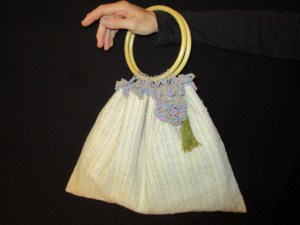 "Kathy Pure Wright, Handwoven Purse, Fiber/Cotton & Silk, 12"" x 16"" + 6"" handles, $135"