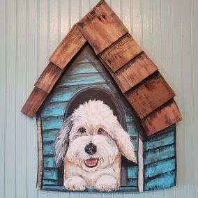 "Laura Heiss, Doghouse: YOUR dog here, Wood and acrylic; Custom painted with likeness of your dog, 20"" x 30"", $175"