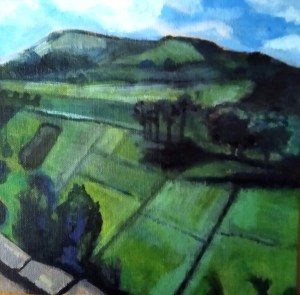 "Meryl Shapiro, Ecuador Landscape, Acrylic, 8""x8"", $475"