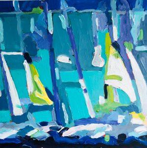 "Marion Schneider, Sailboat inspiration, Acrylic, 13""x13"", $1,500"