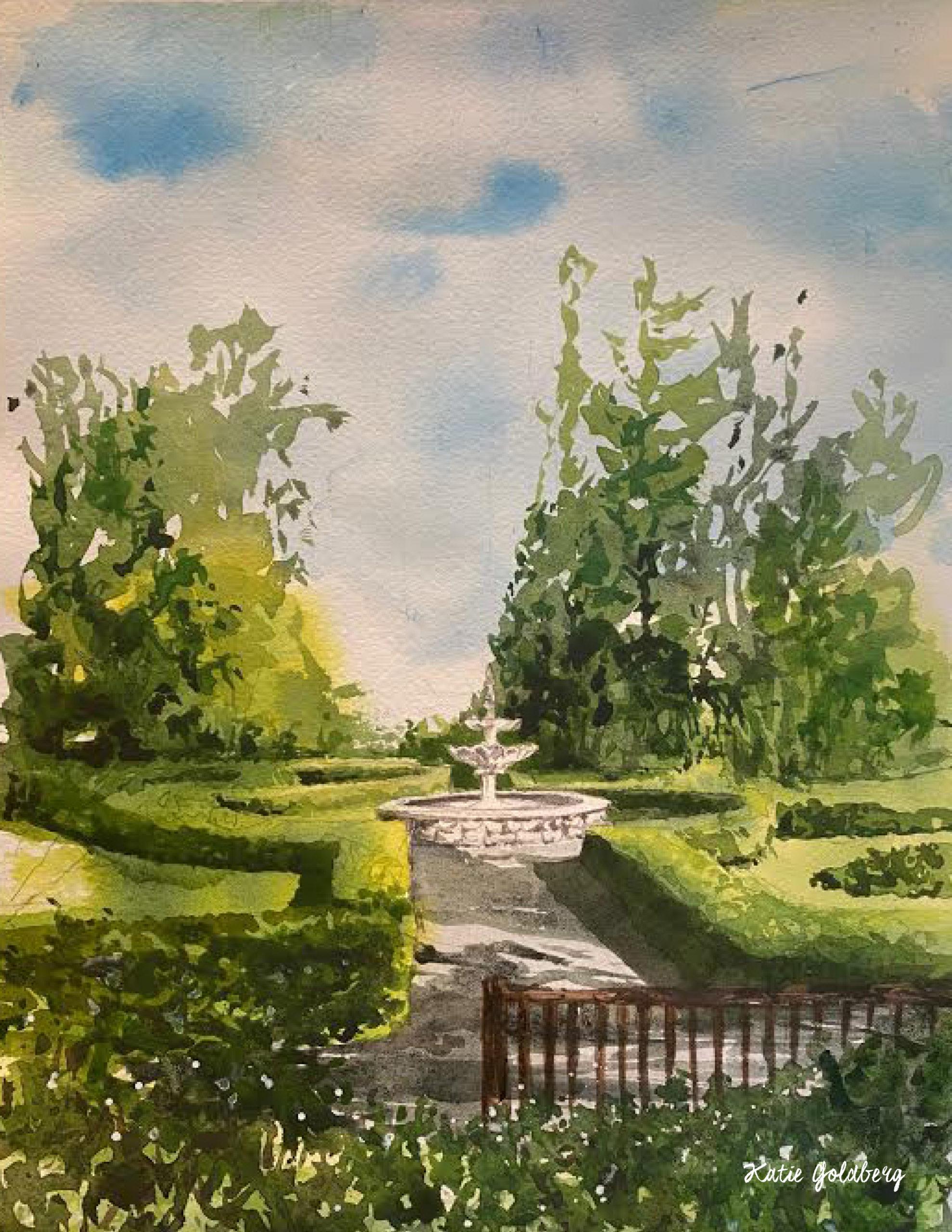 "Katie Winterstein Goldberg, Lasdon Park, Watercolor, 9""x12"", $250"