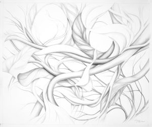 """Suzanne Montresor, Windswept, Graphite & Watercolor, 28"""" x 32"""", $1400"""
