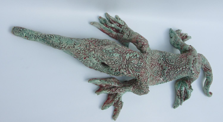 "Joel Trieger, Swayback Lizard, Ceramic/sculpture, 18""x8""x3"", $250"