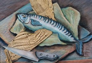 "Laura Heiss, Fish Fillet, Mixed Media, 24""x30"", $350"