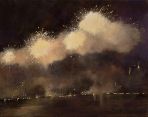 """Nina Maguire, NY Celebration July 4, 2018, Acrylic/Canvas, 22""""x28"""", $15,000"""
