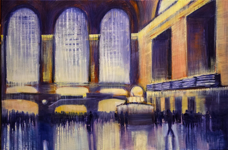 """Jane Black, Rush Hour, Grand Central, Oil on linen, 24""""x36"""", $1,200"""