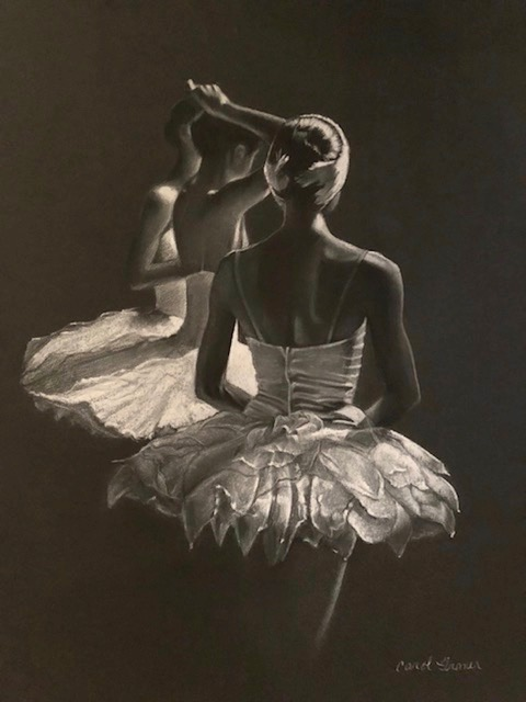 "Carol Gromer, In The Wings, Conte and Charcoal, 34""x27"", $2,500"