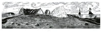 "2nd Prize: Dawn Leone, Black Sands Beach, Woodcut print, 24""x87"", $1,200"
