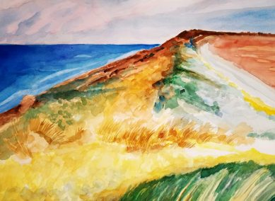 "Leslie Hardie, Dunes and Sea, Watercolor on Arches, 28""x22"",$1,450"