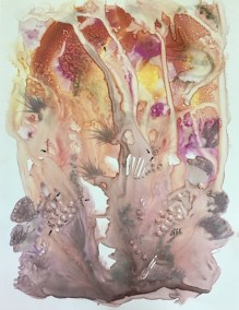 "Inge Pape Trampler, Under the sea I, Acrylic wash on paper, 8.5""x11"", $350"