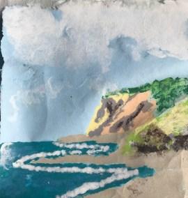 "Sheila M Fane, Island Cliffs, Handmade Paper Image, 14""x14"", $320"