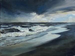 """Deborah Petrucci, Storm Surge, Oil on canvas, 9""""x12"""", $350"""