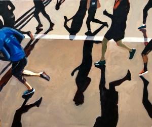 "Marion Schneider, Marathon close up, Acrylic on canvas, 30""x30"", $2,200"