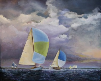 "Sherri Paul, Spinnakers, Oil on linen, 24""x30"", $950"