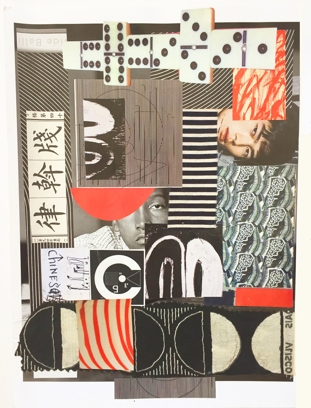 """Chris Timmons, Black, White & Red 2, Mixed-media Collage, 9""""x12"""", $500"""