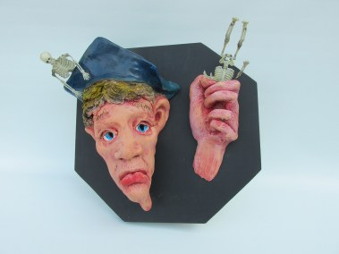 "Joel Trieger, ""STOP"", Mixed Media/Sculpture, 13""x13""x7"", $650"