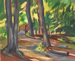 "Hilda Demsky, Walk in the Woods, Oil, 20""x24"",$700"