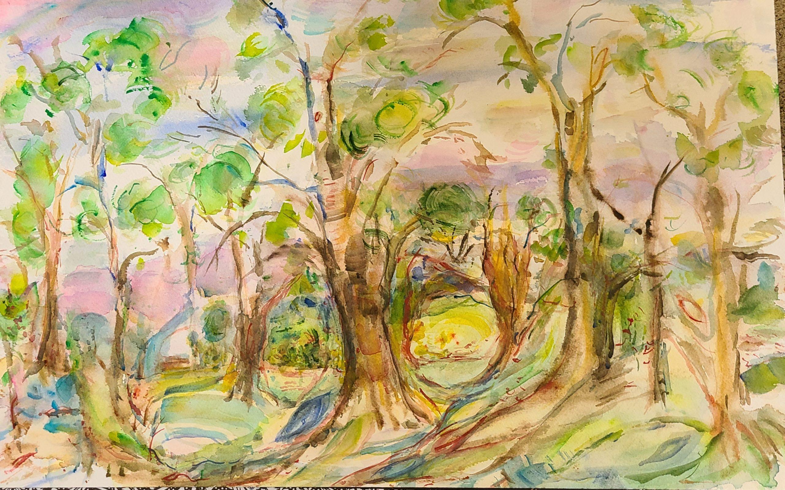 """Kaplan Riva, Keep walking, Watercolor, 14""""x20"""", $300"""