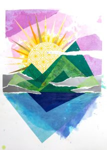 "Allison Belolan, Misty Mountain Sunrise, Mixed-media collage, 24""x18"", $400"