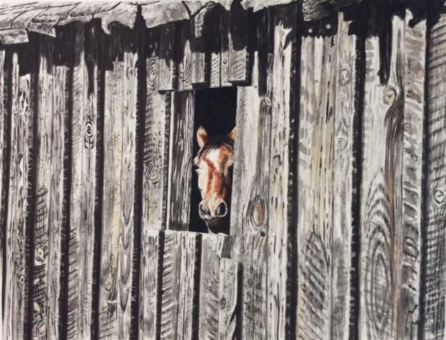 """James Maciel, Barn #1, Watercolor/sumi ink, 24""""x30"""", $250"""