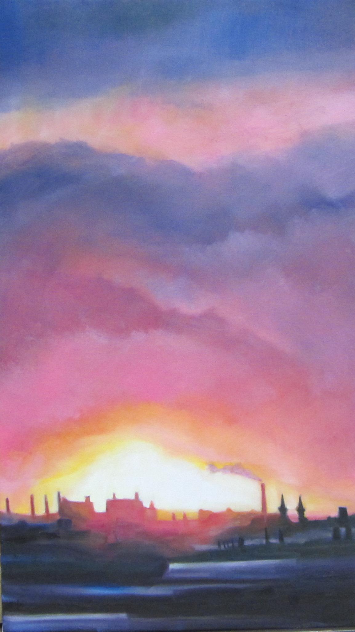 "Sherri Paul, Jersey Sunset, Oil on linen, 26""x12"",$600"