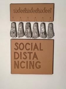 "Ruth Geneslaw, Social Distancing, Cardboard & papier mache, 34""x20"", $600"