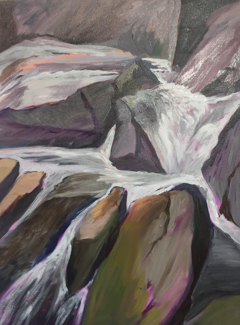 "Hilda Green Demsky, Camden Waterfall, Oil, 24""x20"", $800"
