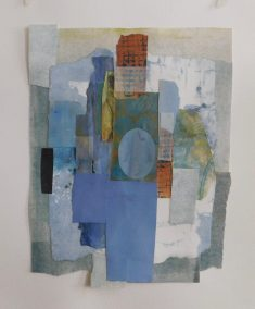 "Mitchell Visoky, Blue Memories, Paper, vellum on paper, 16""x14"", $600"