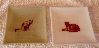 "Mitchell Visoky, Cat Plates, Fused glass with decals, 5""x5"", $30 each"