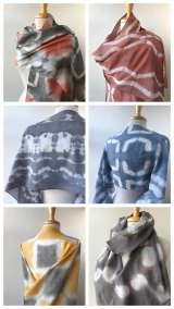 "Elena Rosenberg, Hand-Dyed Shibori Scarves in Silk and Silk-Cotton, Fiber / Fine Craft, 13""x74"", $75 each"