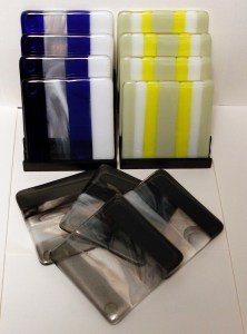 "Mitchell Visoky, Fused glass coasters, 4""x4"", $52/set of 4"