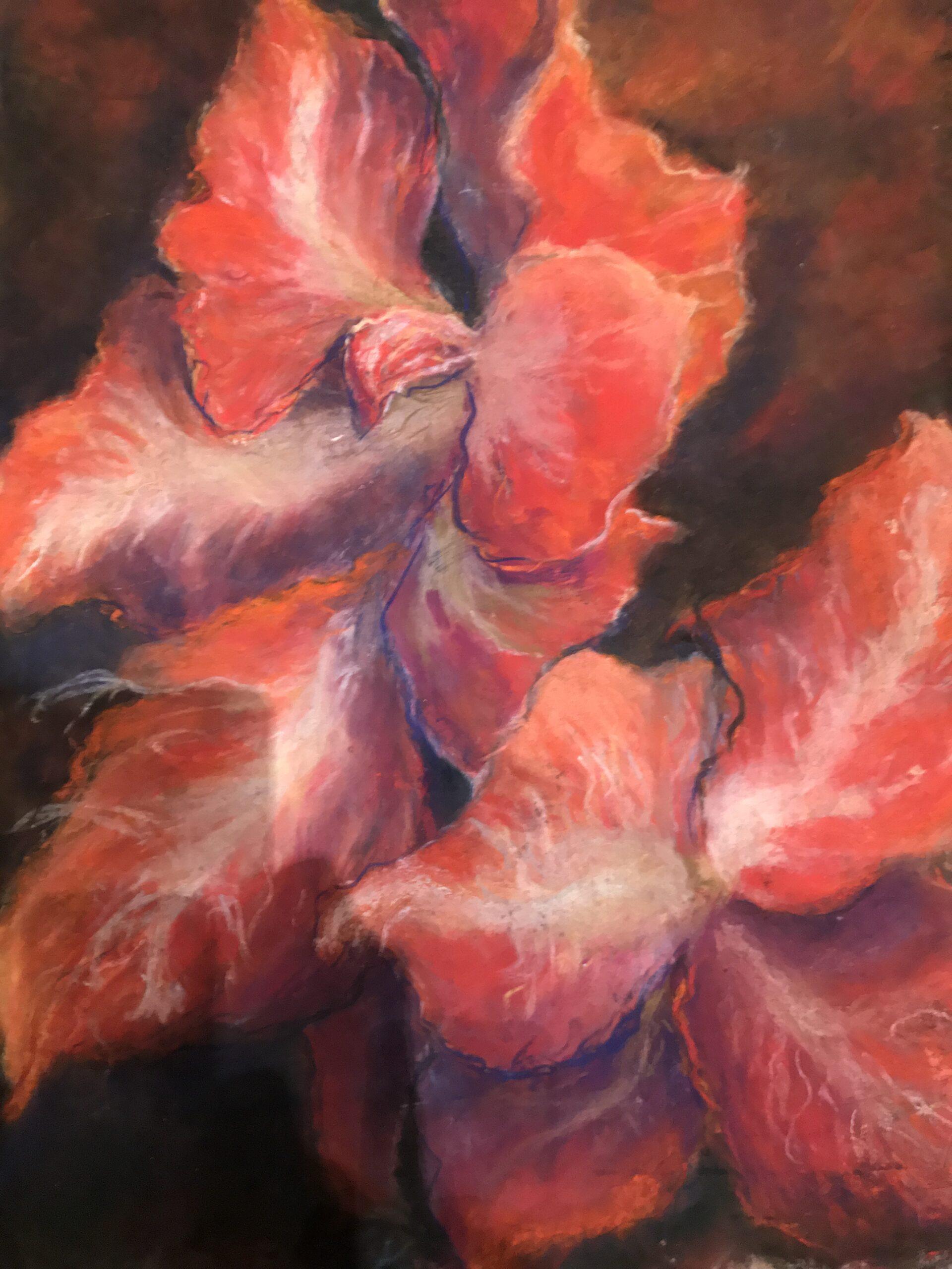 """Arlene Oraby, Winter Amaryllis, Pastel on Sennelier Paper, 20""""x26"""", $250"""