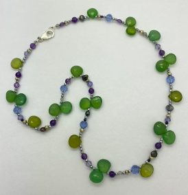Mindy Ackerman, Necklace MWA08620, Green Chalcedony/Amethyst//Blue Quartz/925 Silver Clasp, $75