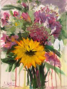 "Denise Petit Caplan, Flowers Everyday, Acrylic on paper, 12""x9"", $400"