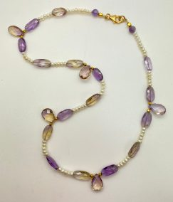 Mindy Ackerman, Necklace MWA05520, Ametrine/Fresh Water Pearls/Gold Filled Clasp, $185