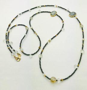 Mindy Ackerman, Necklace MWA14519, Dendritic Opal/White Topaz/Rutilated Quartz/Black Hematite/Rock Crystal, $325