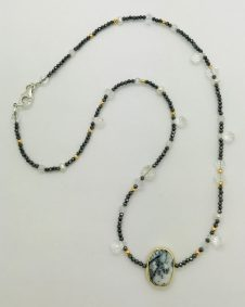 Mindy Ackerman, Necklace MWA14819, Dendritic Opal/White Topaz/Black Hematite/Golden Pyrite/Rock Crystal, $140