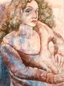 "Paula Blumenfeld, Seated woman, Watercolor on heavy bond, 20""x14"",$465"