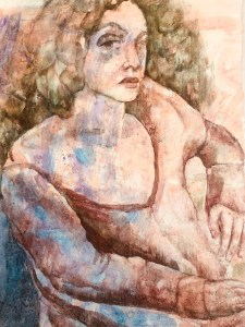 "Paula Blumenfeld, Seated woman, Watercolor on heavy bond, 20""x14"",$465"